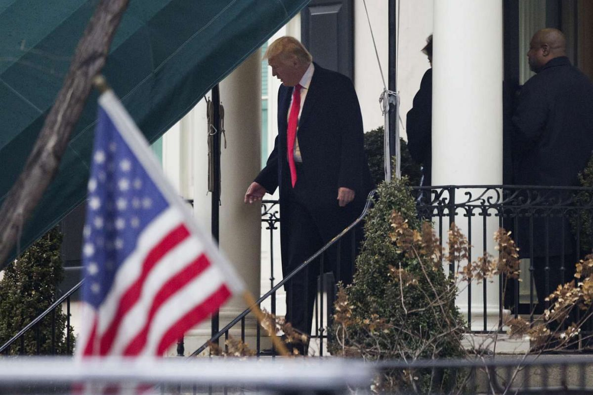US president-elect Donald Trump departs Blair House ahead of the 58th presidential inauguration in Washington on Jan 20, 2017.