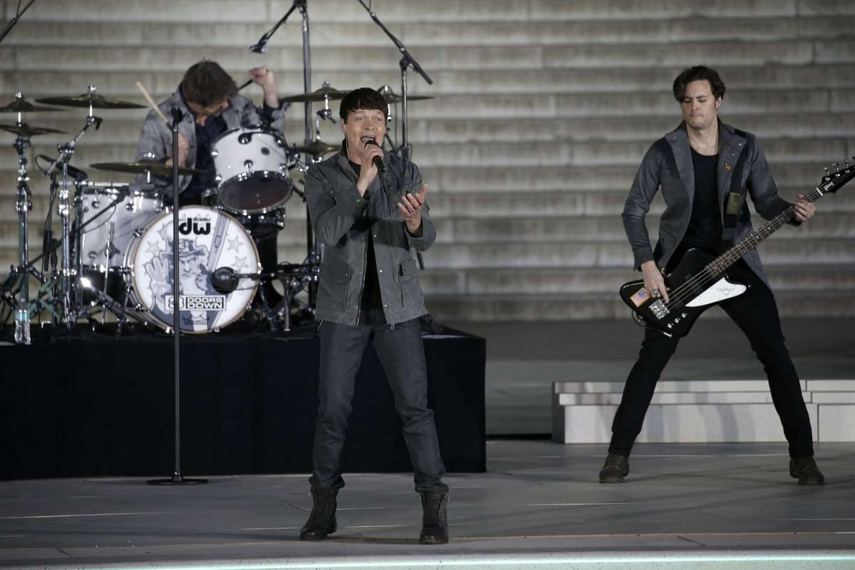 Brad Arnold of the band 3 Doors Down performs at the Lincoln Memorial on the eve of the inauguration of President-elect Donald Trump in Washington, on Jan 19, 2017.