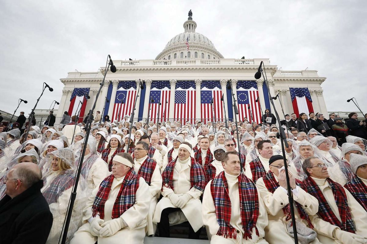 Members of the Mormon Tabernacle Choir in the seats on the West Front of the US Capitol several hours before Donald J. Trump is sworn in as the 45th President of the United States in Washington, DC, USA, on Jan 20, 2017.