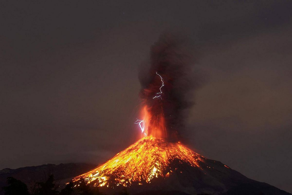 View from the Comala community, Colima State, Mexico, of the Volcano of Fire in eruption.
