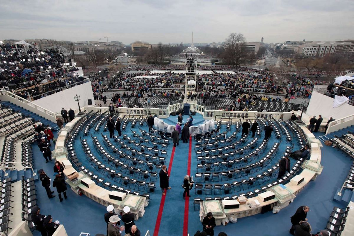 Chairs set up on the West Front of the US Capitol on Jan 20, 2017
