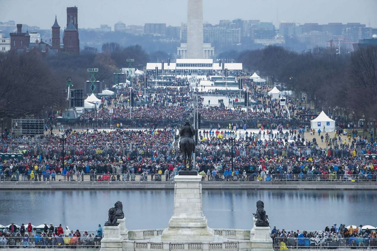Crowd on the National Mall about two hours before Donald J. Trump is sworn in as the 45th President of the United States in Washington, DC, USA on Jan 20, 2017.