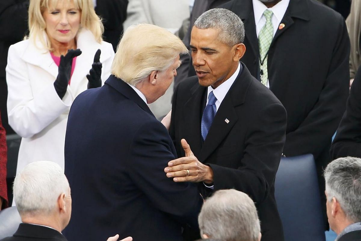 President-elect Donald Trump and President Barack Obama meet on the West front of the US Capitol in Washington, US on Jan 20, 2017.