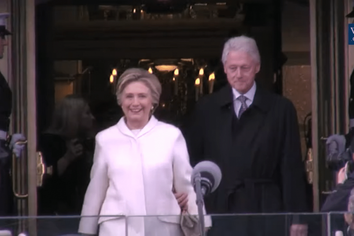 Former President of the United States Bill Clinton and former Secretary of State Hillary Clinton arrive at Donald Trump's inauguration on Jan 20, 2017.