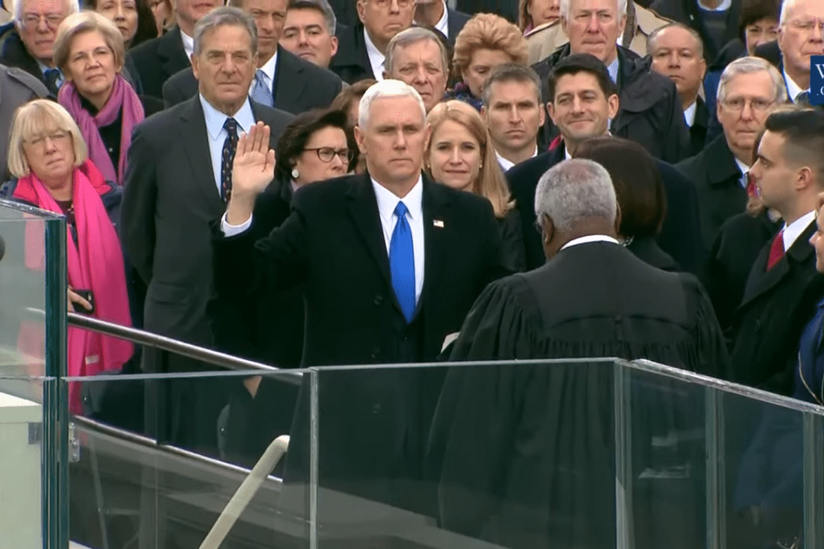 Mike Pence sworn in as Vice-President by Supreme Court Justice Clarence Thomas.