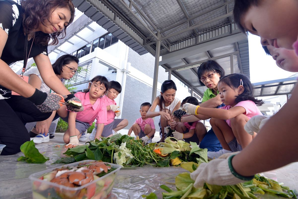 Pre-schoolers and their teachers and principal, Ms Tham Kum Fong (above, in green shirt), at Singapore Hokkien Huay Kuan Pre-school with the food waste they collected for their compost bin.