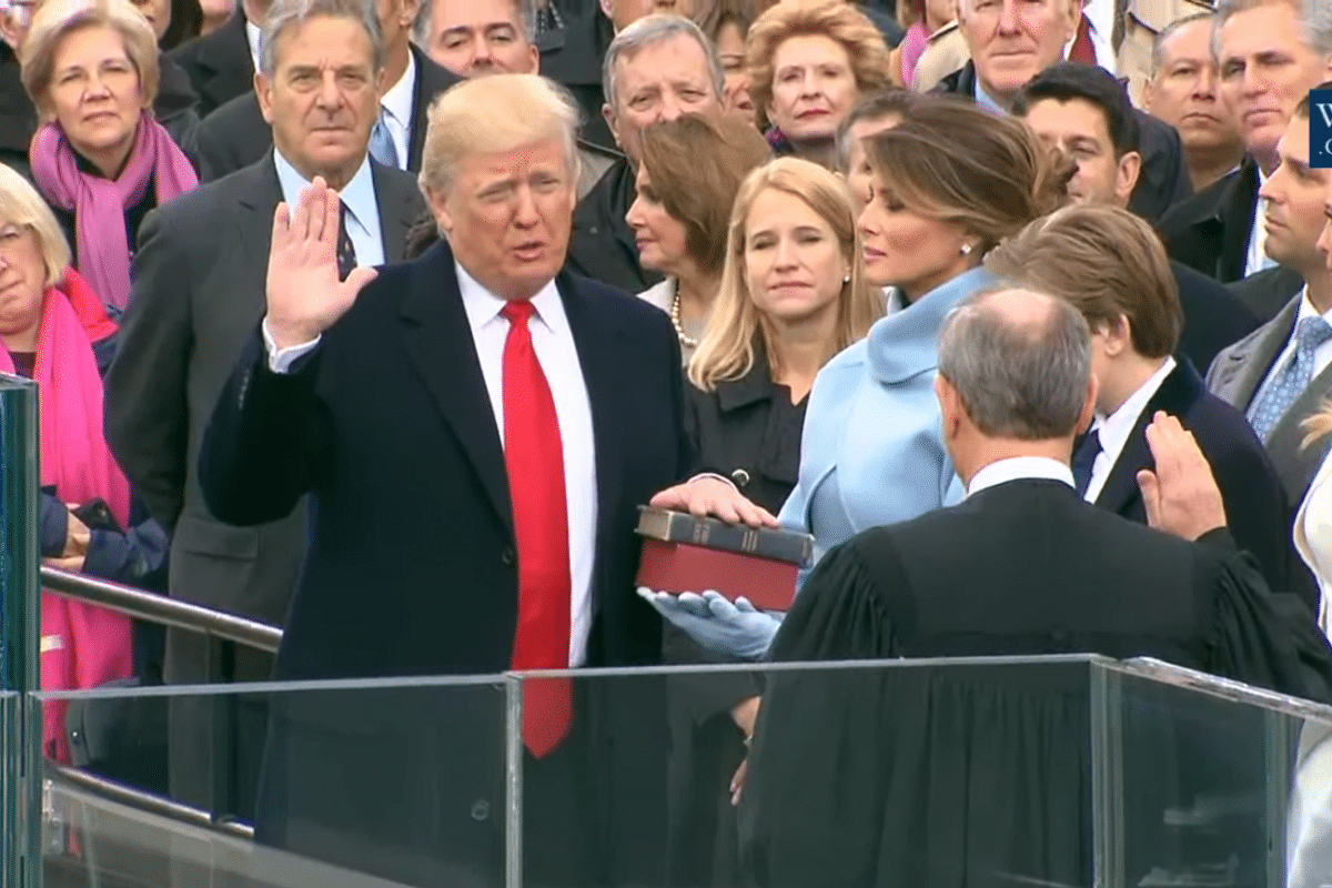 Donald Trump sworn in as the 45th President of the United States by Chief Justice John Roberts.