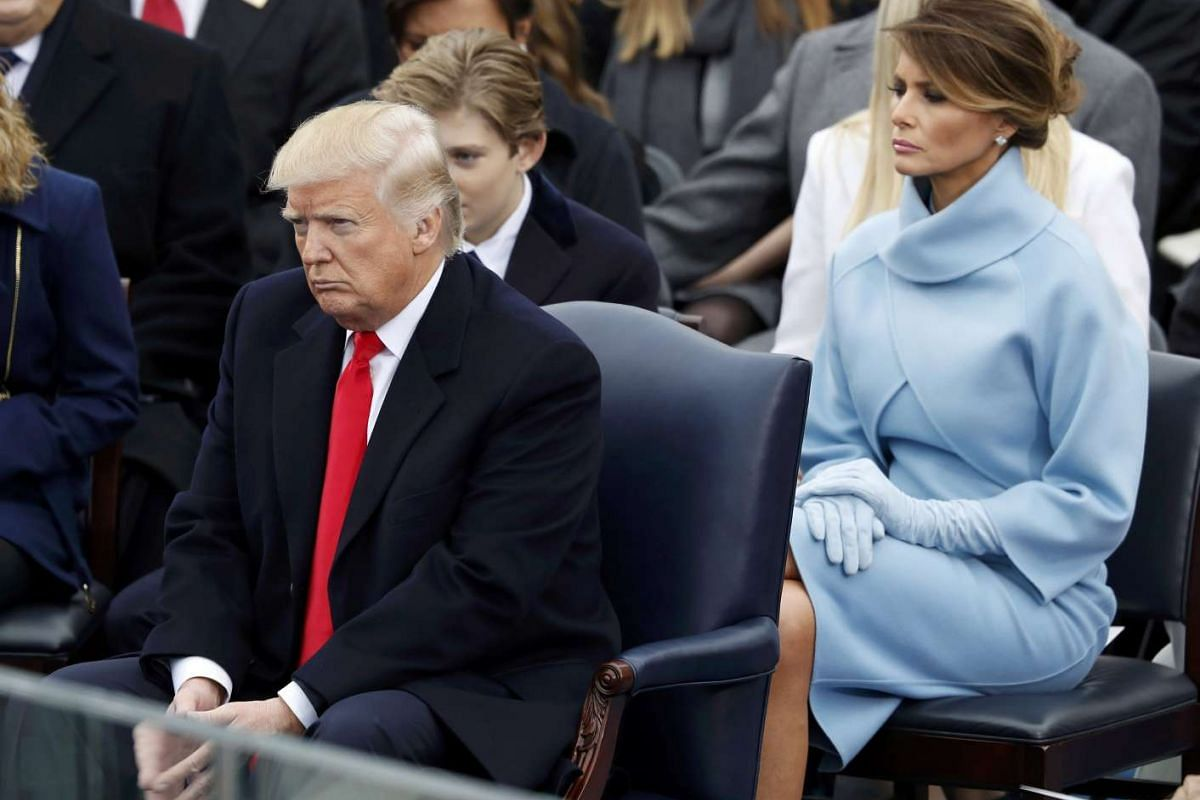 Donald Trump, wife Melania and son Barron, attend his inauguration ceremonies to be sworn in as the 45th President of the United States on the West front of the US Capitol in Washington, US on Jan 20, 2017.