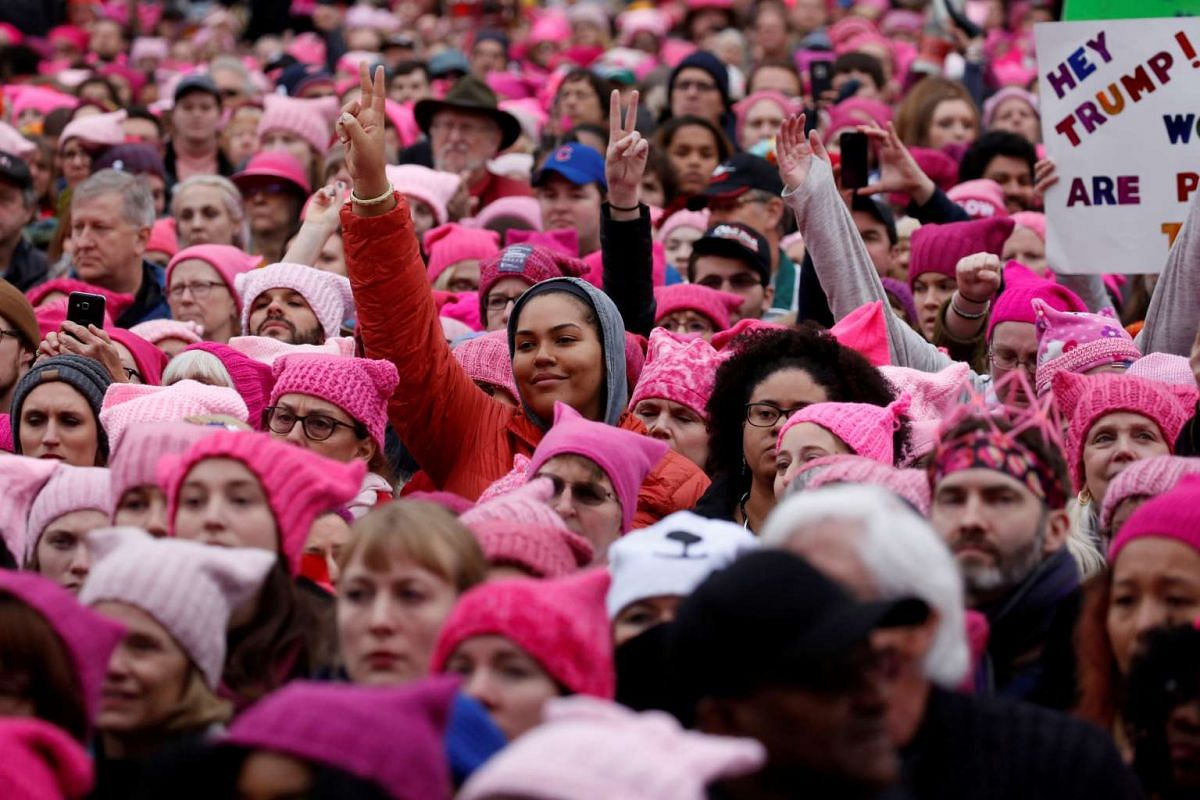 People gather for the Women's March in Washington, DC, on Jan 21, 2017.