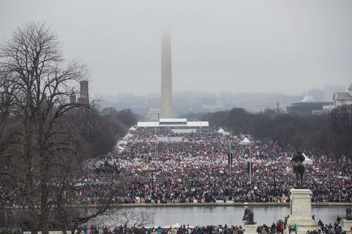 Thousands of demonstrators gather at the National Mall to protest Donald Trump's inauguration during the Women's March in Washington, DC, on Jan 21, 2017.