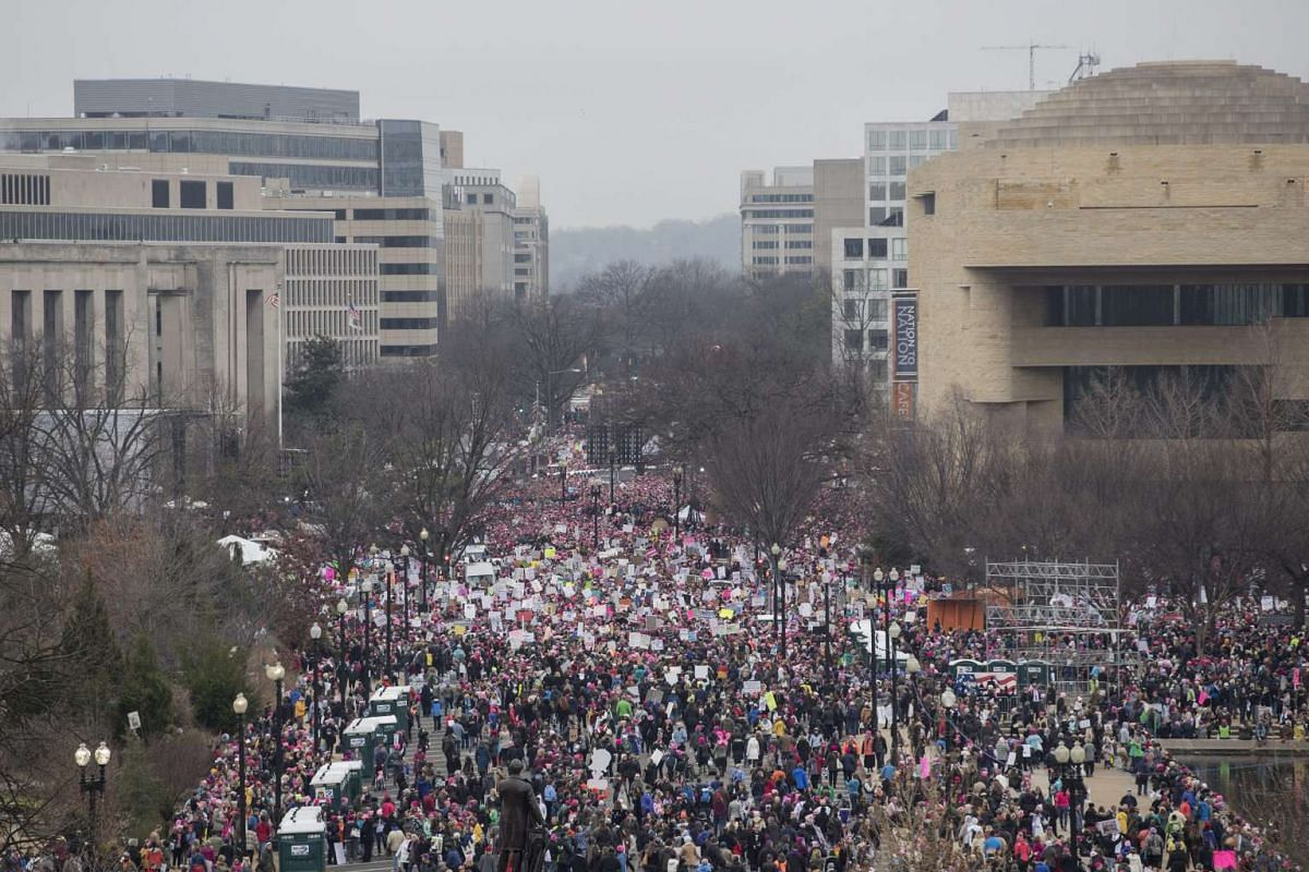 Thousands of people gather near Independence Avenue for the Women's March to protest against President Donald Trump in Washington, DC, on Jan 21, 2017.