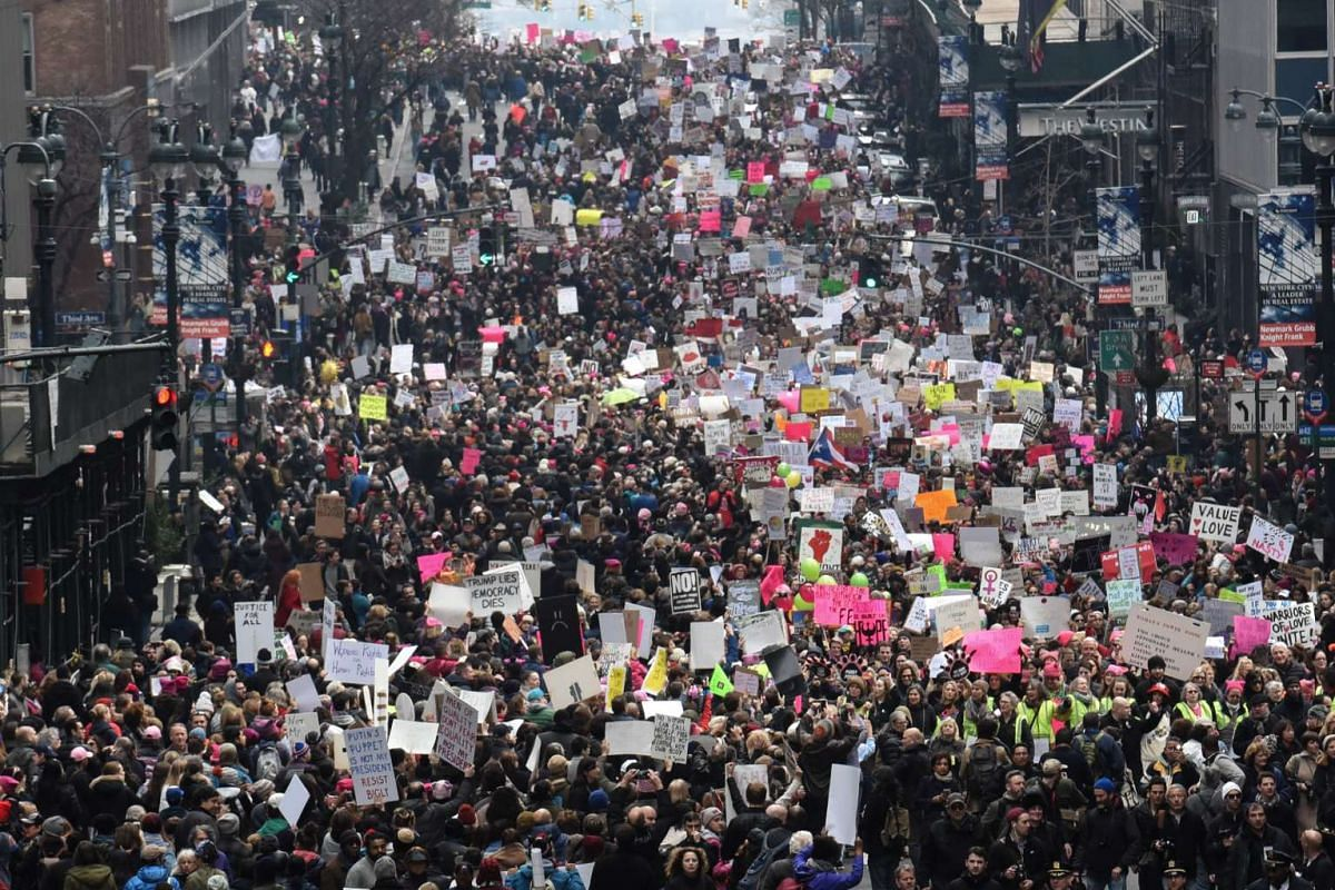 People participate in a Women's March to protest against US President Donald Trump in New York City, on Jan 21, 2017.