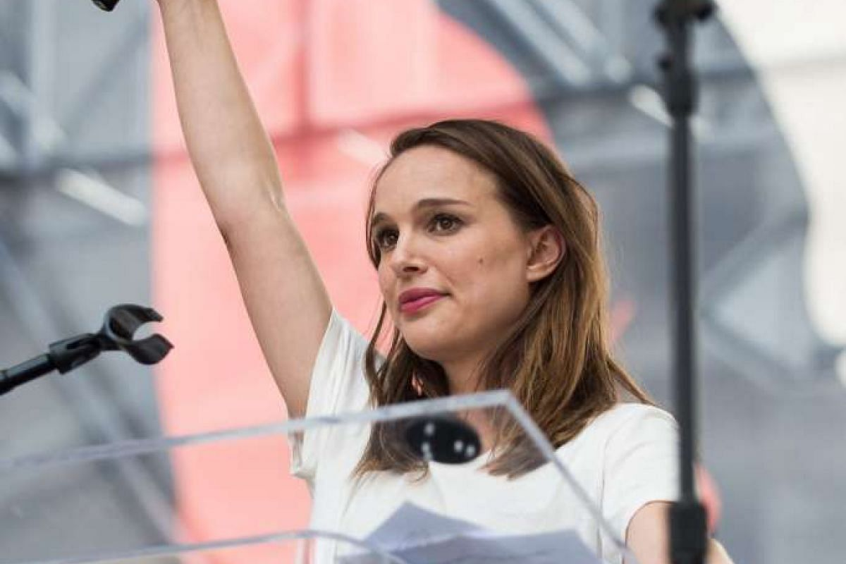 Actress Natalie Portman speaks onstage at the Women's March in Los Angeles on Jan 21, 2017.
