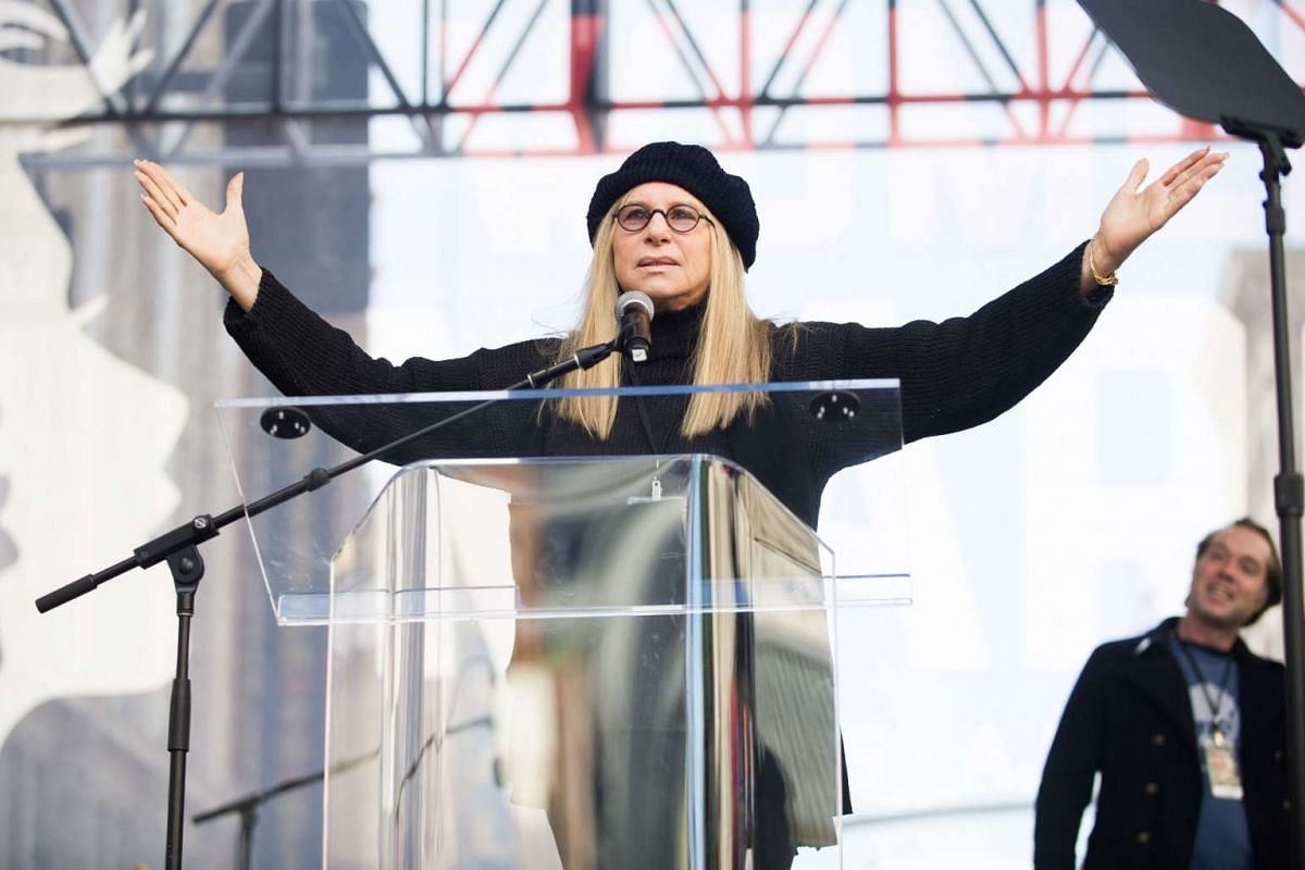 Actress Barbra Streisand speaks onstage at the Women's March in Los Angeles on Jan 21, 2017.