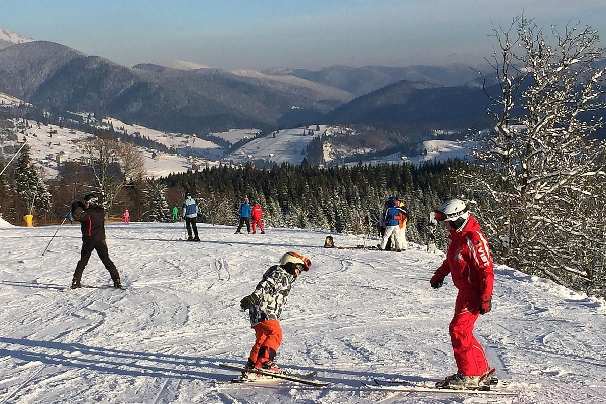 The ski slopes of the Carpathian mountains in Ukraine.