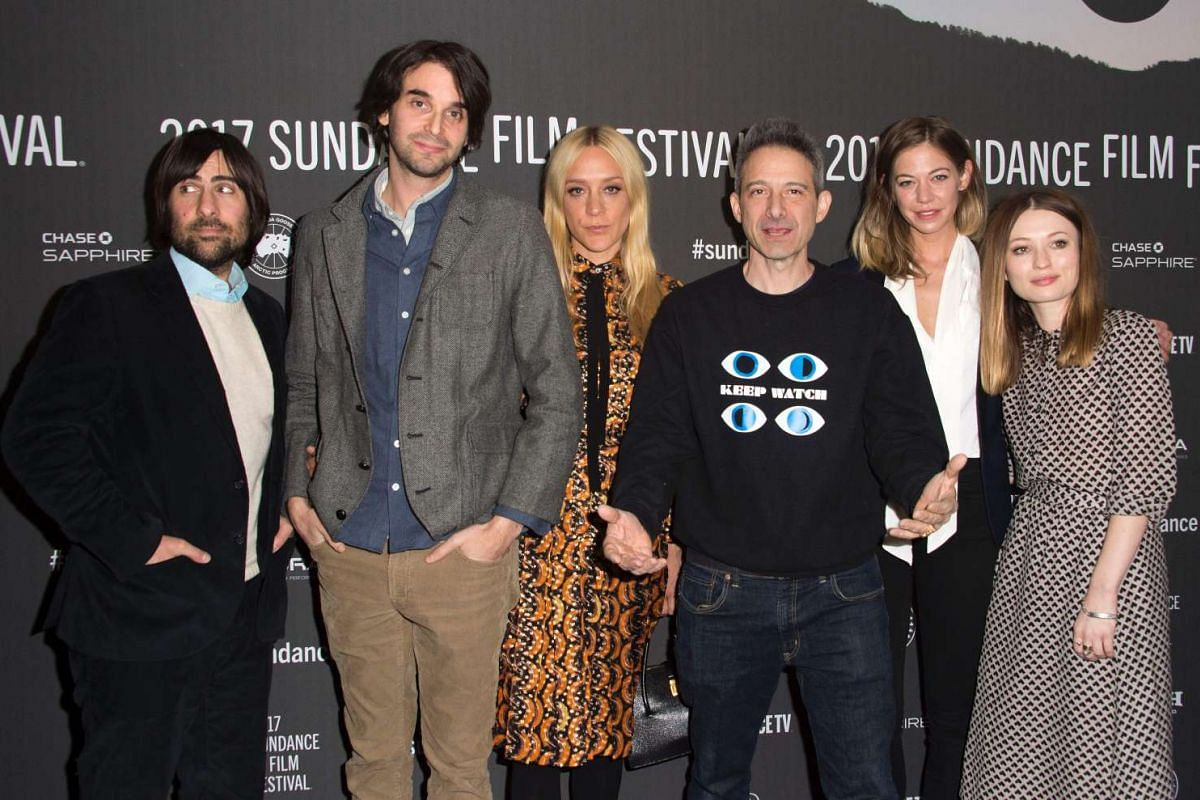 (From left) Actor Jason Schwartzman, director Alex Ross Perry, actors Chloe Sevigny, Adam Horovitz, Analeigh Tipton and Emily Browning and attend the Golden Exits premiere at the Library Center Theatre during the 2017 Sundance Film Festival in Park C