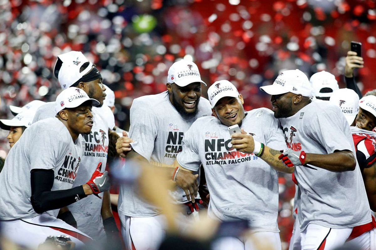 The Atlanta Falcons celebrate after defeating the Green Bay Packers in the 2017 NFC Championship Game at the Georgia Dome in Atlanta, USA on January 22, 2017. Atlanta won 44-21. PHOTO: USA TODAY SPORTS