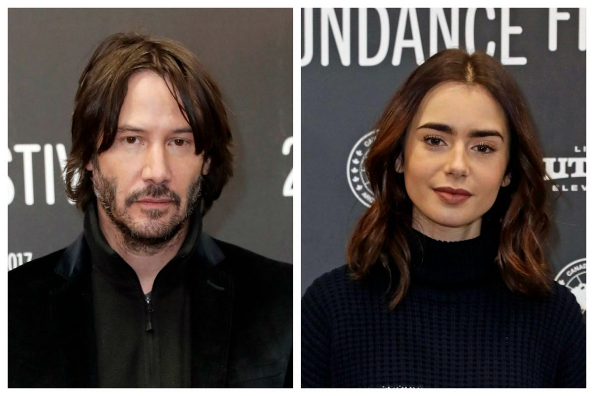 Actor Keanu Reeves and actress Lily Collins arrive for the premiere of To The Bone at the at the 2017 Sundance Film Festival in Park City, Utah, on Jan 22, 2017.