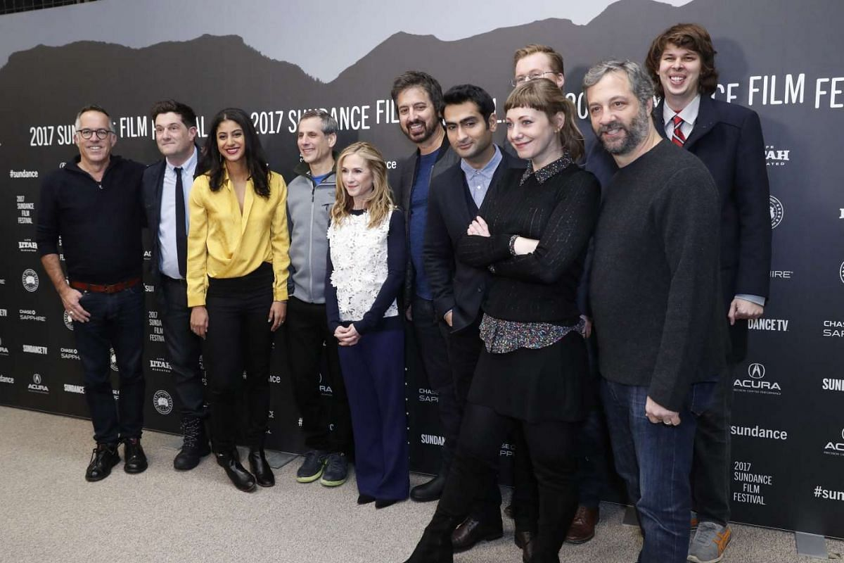 The cast of the The Big Stick pose for a picture before the premiere of the movie at the 2017 Sundance Film Festival in Park City, Utah, on Jan 20, 2017.