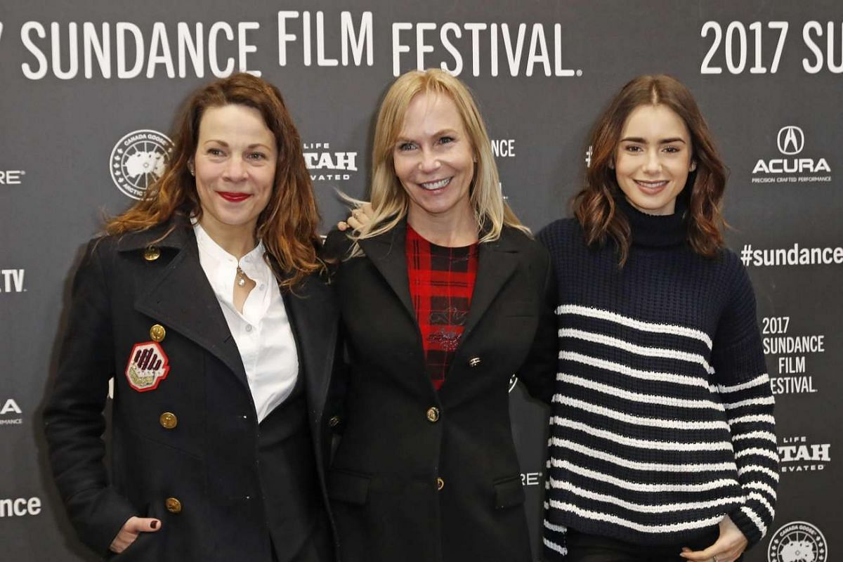 US director and writer Marti Noxon (centre) arrive with US actresses Lili Taylor (left) and Lily Collins for the premiere of To The Bone at the at the 2017 Sundance Film Festival in Park City, Utah, on Jan 22, 2017.