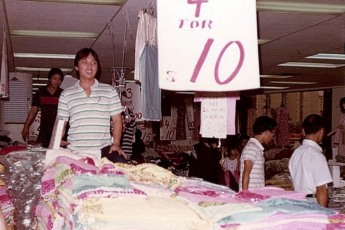 My life so far: Mr Ang Chin Koon with his daughter Wei Xia, a director at C K Holdings, at the myCK store in Chinatown; and at the Tanjong Katong Complex in the 1980s (above).