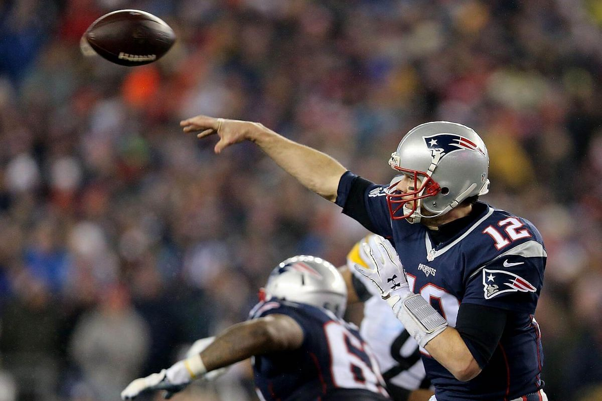 Tom Brady of the New England Patriots attempts a pass against the Pittsburgh Steelers during the fourth quarter in the AFC Championship Game at Gillette Stadium on Jan 22, 2017, in Foxboro, Massachusetts.
