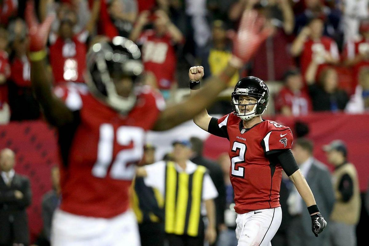 Matt Ryan of the Atlanta Falcons reacts after a touchdown in the fourth quarter against the Green Bay Packers in the NFC Championship Game at the Georgia Dome on Jan 22, 2017, in Atlanta, Georgia.