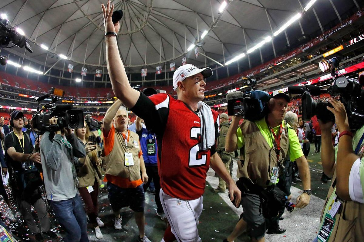 Matt Ryan of the Atlanta Falcons celebrates after defeating the Green Bay Packers in the NFC Championship Game at the Georgia Dome on Jan 22, 2017, in Atlanta, Georgia.
