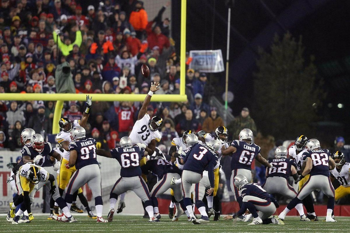 Stephen Gostkowski of the New England Patriots kicks a field goal against the Pittsburgh Steelers during the first quarter in the AFC Championship Game at Gillette Stadium on Jan 22, 2017, in Foxboro, Massachusetts.