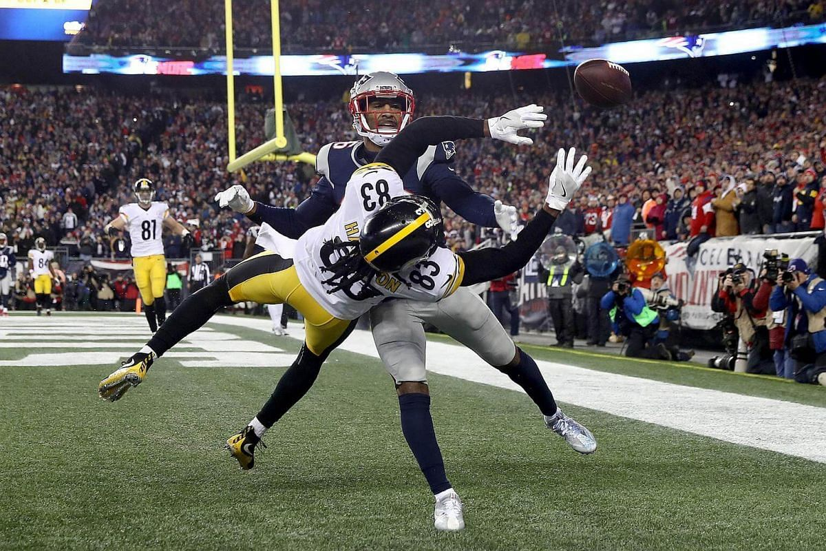 Logan Ryan of the New England Patriots attempts to break up a pass intended for Cobi Hamilton of the Pittsburgh Steelers during the fourth quarter in the AFC Championship Game at Gillette Stadium on Jan 22, 2017, in Foxboro, Massachusetts.