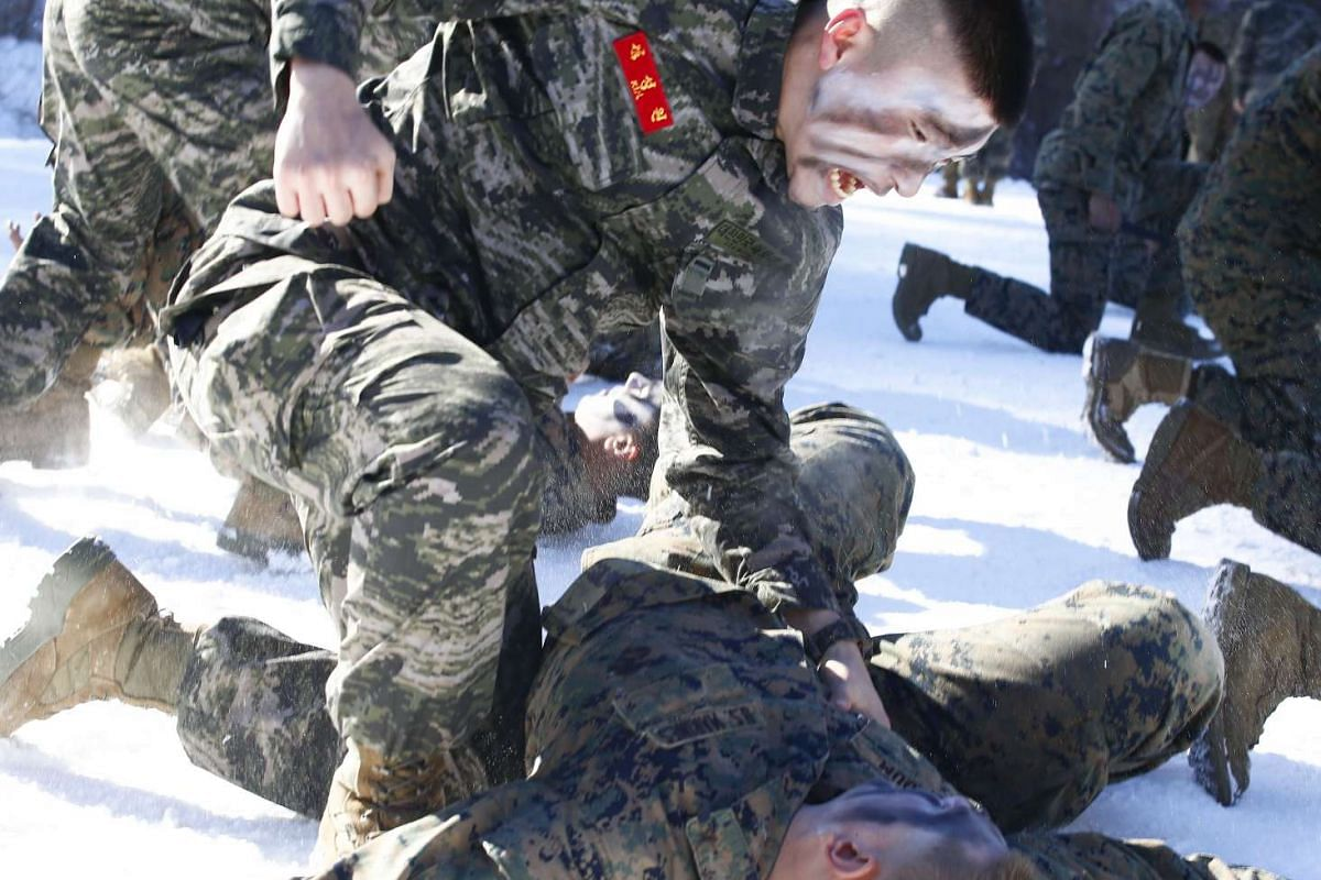 US Marines and South Korean Marine Corps soldiers participating in a winter exercise in Pyeongchang, on Jan 24, 2017.