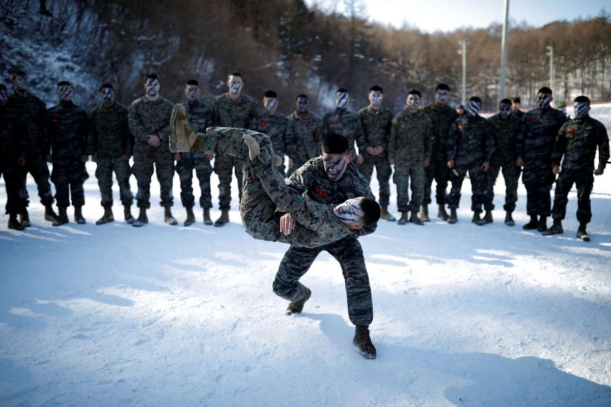 South Korean and US Marines demonstrating their martial arts skills in a winter military drill in Pyeongchang, on Jan 24, 2017.