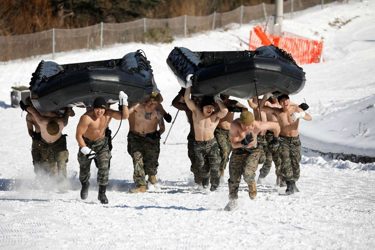 South Korean and US Marines participating in a winter military drill in Pyeongchang, on Jan 24, 2017.
