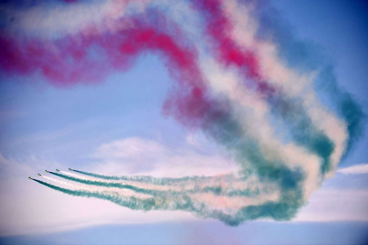 The Royal Saudi Hawks, the aerobatic team of the Royal Saudi Air Force, performs during a ceremony marking the 50th anniversary of the creation of the King Faisal Air Academy at King Salman airbase in Riyadh on January 25, 2017. PHOTO: AFP