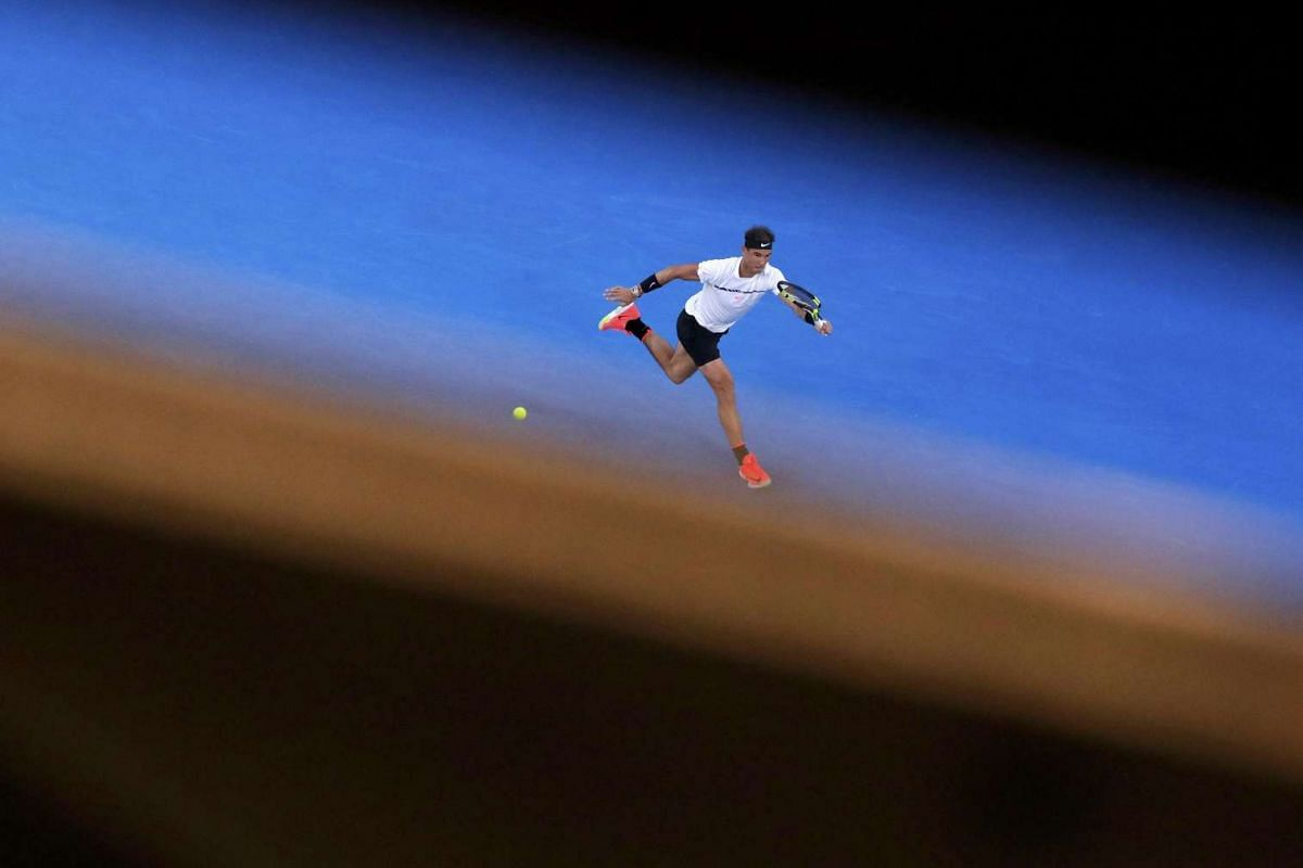 Rafael Nadal hits a shot during his Men's singles quarter-final match against Canada's Milos Raonic at the Australian Open in Melbourne Park, Melbourne, Australia, on January 25, 2017. PHOTO: REUTERS
