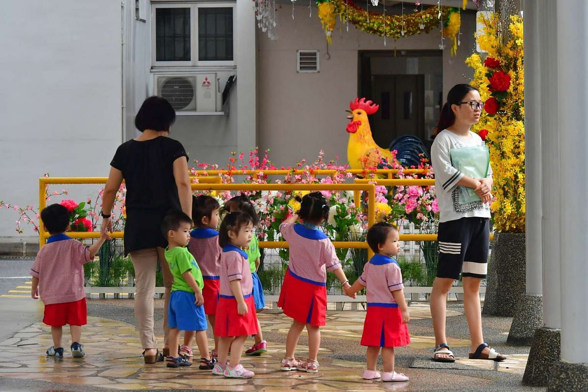Children viewing the decorations done by Mr Tan near the gantry of the car park between Block 178 and Block 179 Woodlands Street 13, on Jan 26, 2017.