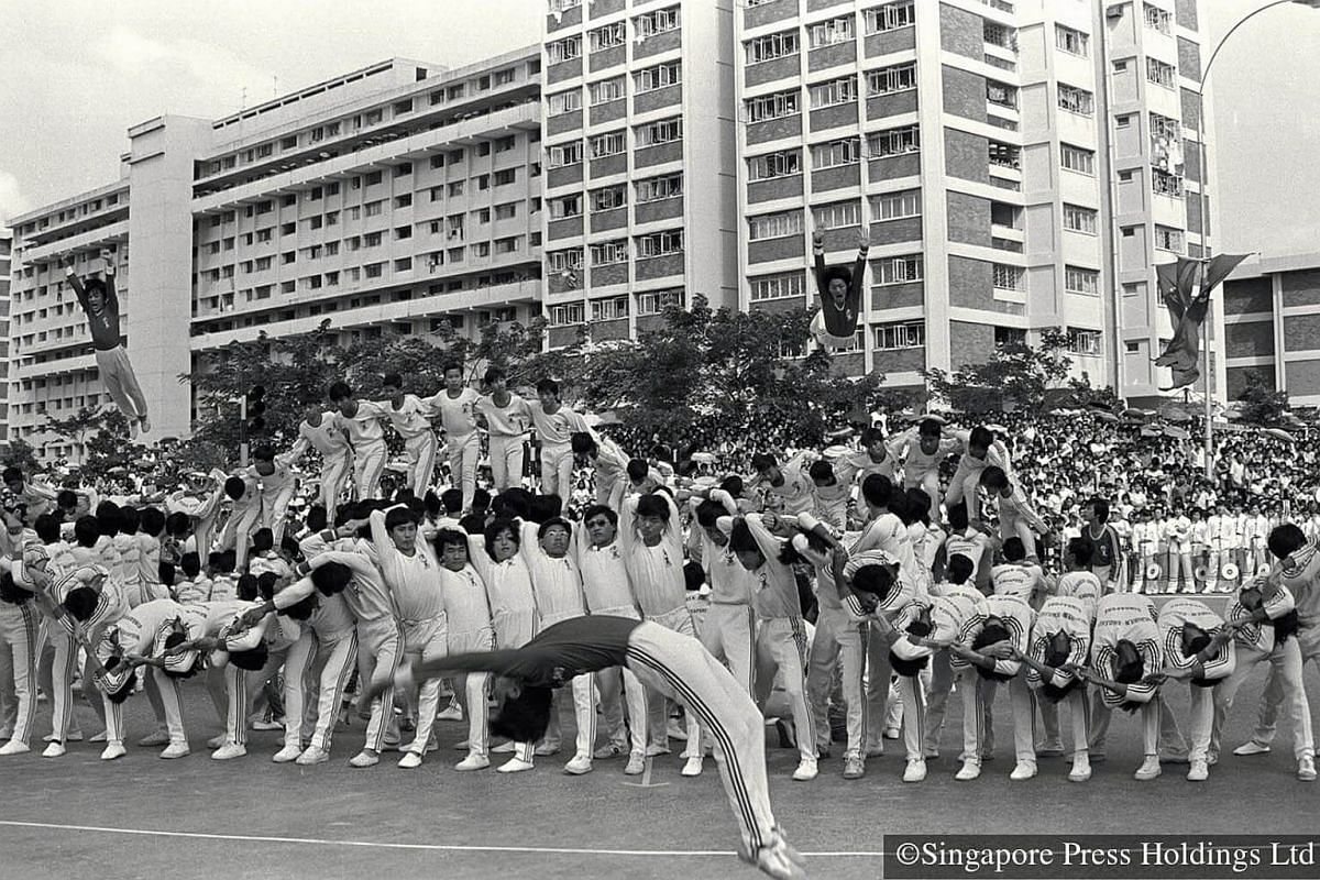 1981: A performance by children during the Chingay parade held in Bedok North. This year's Chingay features a number of performances from various cultural and school groups, and entertains a 35,000-strong crowd.