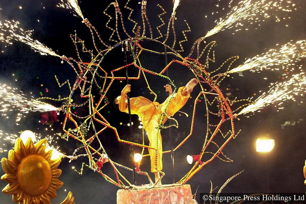 2001: An acrobatic performance that thrills the crowds at the Chingay parade held at City Hall.
