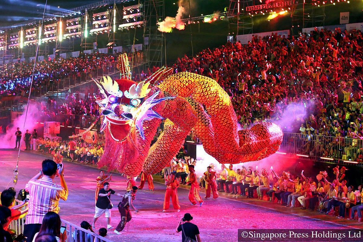 2016: A 66m-long helium-filled flying LED dragon, held by performers from China's Shaanxi province, makes its world debut on the second night of the Chingay parade.