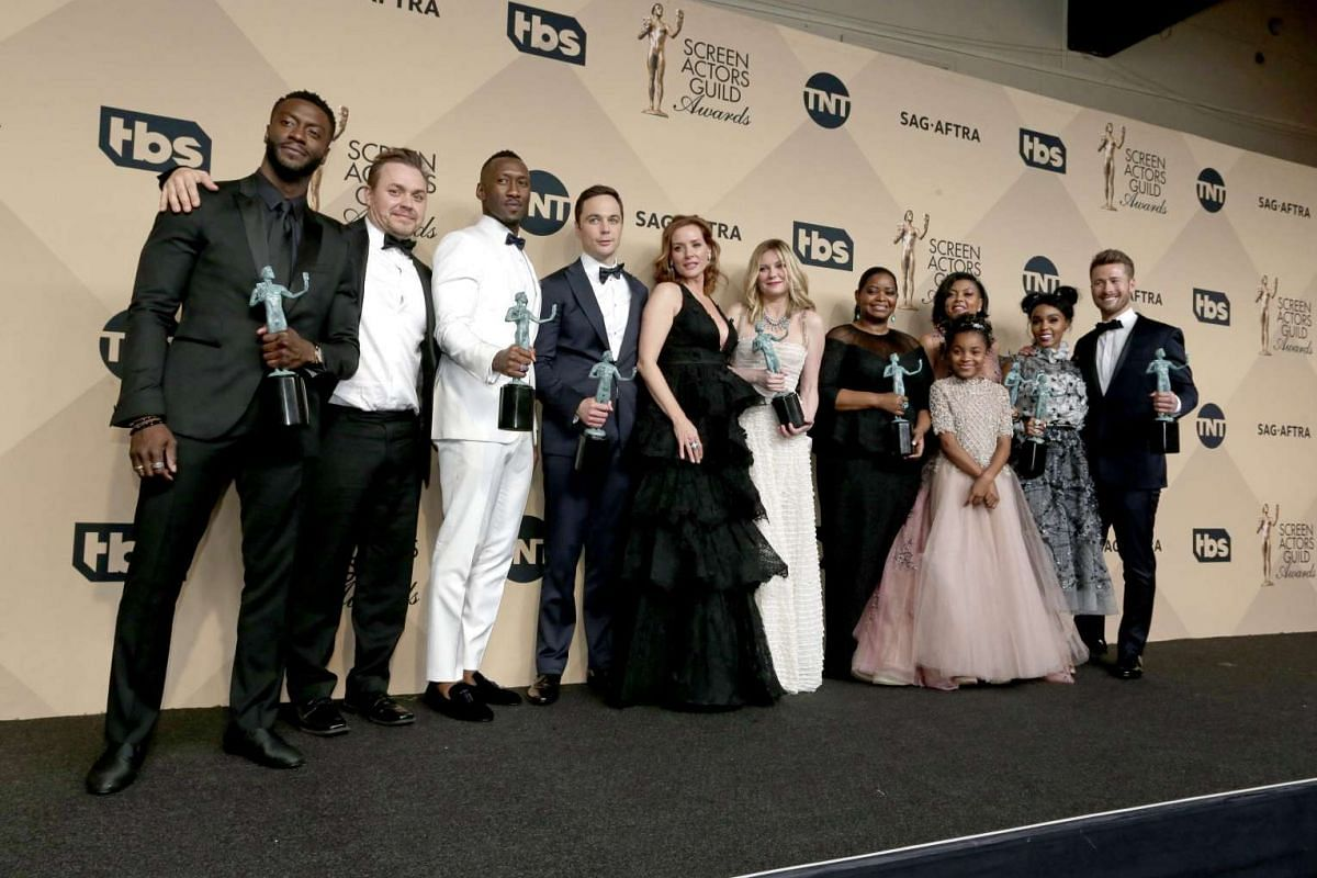 The cast of Hidden Figures pose with their SAG Award for Outstanding Performance by a Cast in a Motion Picture at the Shrine in Los Angeles, California, on Jan 29, 2017.