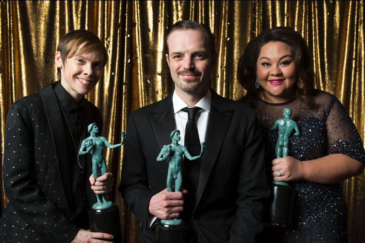 (From left) Abigail Savage, Hunter Emery and Jolene Purdy from Orange Is The New Black pose with their award for Outstanding Performance by an Ensemble in a Comedy Series at the 23rd Annual SAG Awards in Los Angeles, California, on Jan 29, 2017.