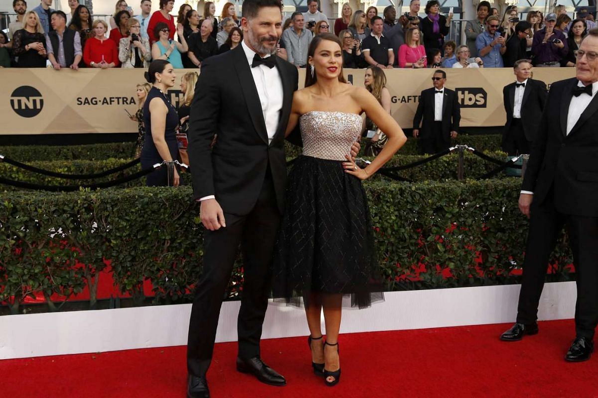 Actors Joe Manganiello and Sofia Vergara arrive for the 23rd Annual Screen Actors Guild Awards at the Shrine Exposition Center on Jan 29, 2017, in Los Angeles, California.