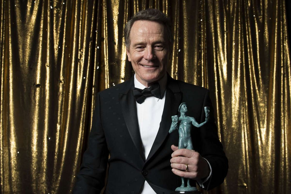 Actor Bryan Cranston poses with this award for Outstanding Performance by a Male Actor in a TV Movie or Limited Series for All The Way at the 23rd Annual SAG Awards at the Shrine in Los Angeles, California, January 29, 2017.
