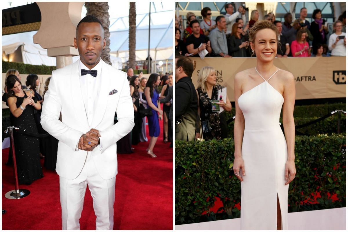 Actor Mahershala Ali and actress Brie Larson arrive for the 23rd Annual Screen Actors Guild Awards at the Shrine Exposition Center on Jan 29, 2017, in Los Angeles, California.