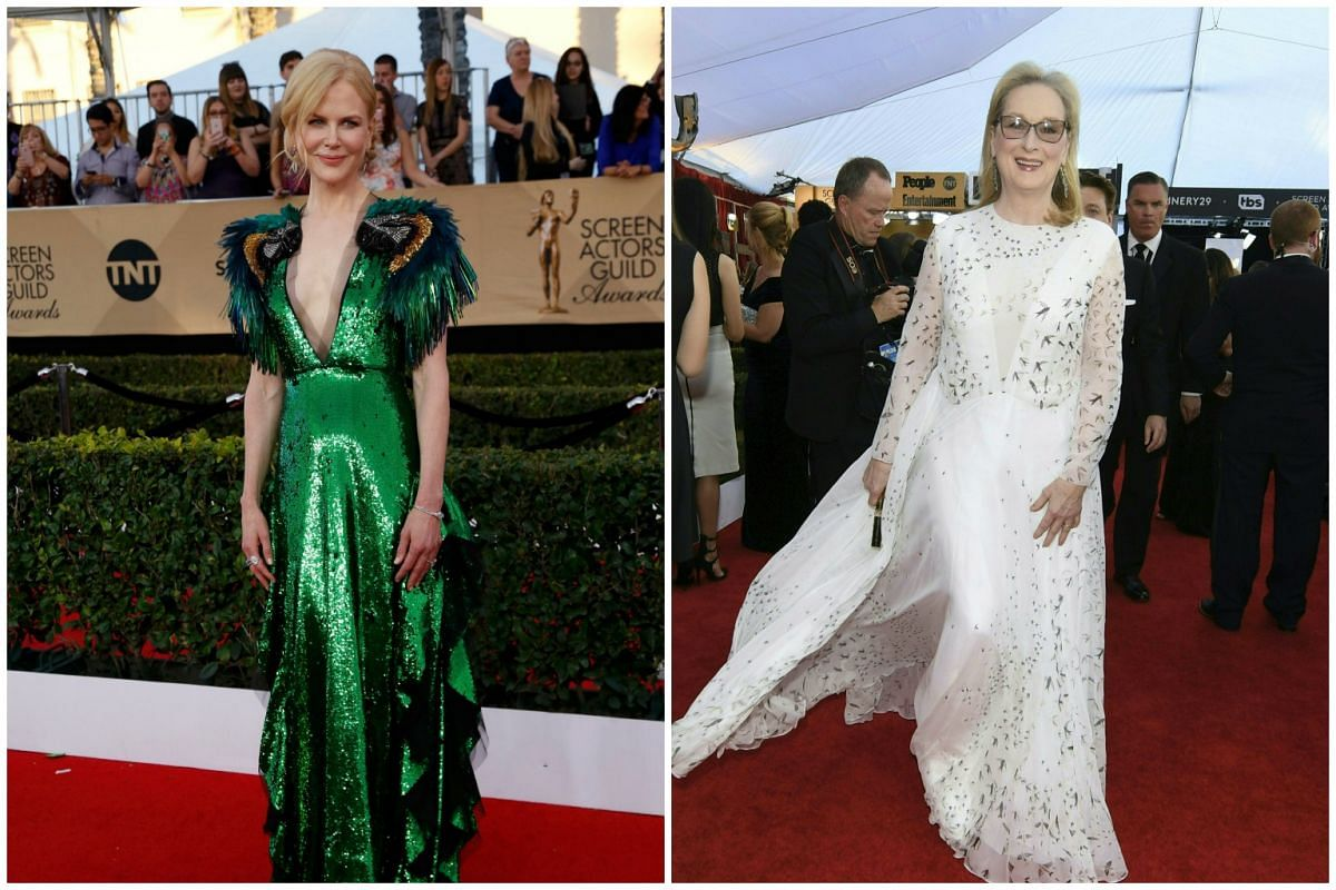 Actresses Nicole Kidman and Meryl Streep attend the the 23rd annual Screen Actors Guild Awards ceremony at the Shrine Exposition Center in Los Angeles on Jan 29, 2017.