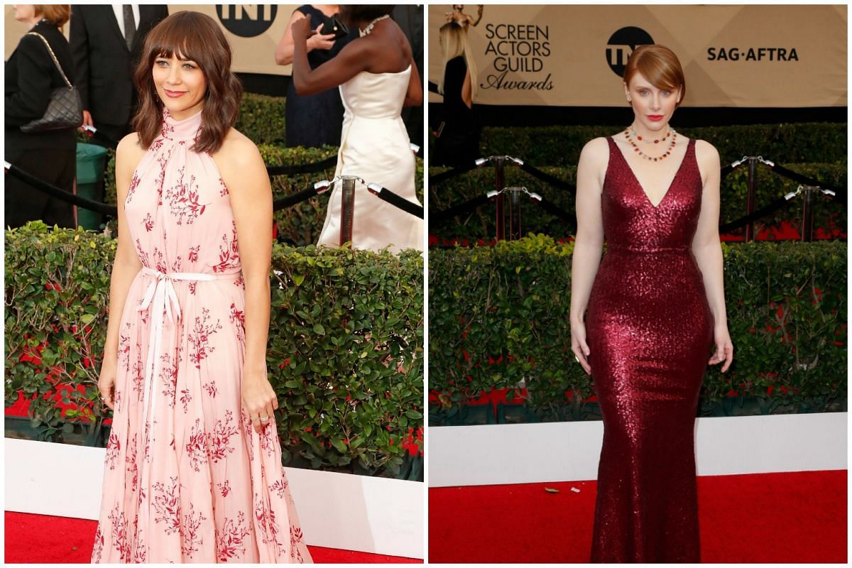 Actresses Rashida Jones and Bryce Dallas Howard arrive for the 23rd Annual Screen Actors Guild Awards at the Shrine Exposition Center on Jan 29, 2017, in Los Angeles, California.