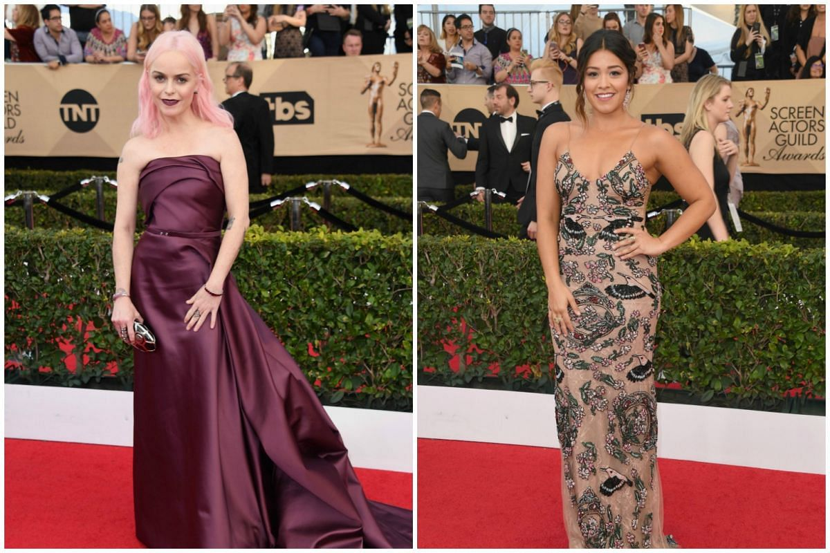 Actresses Taryn Manning and Gina Rodriguez attend the the 23rd annual Screen Actors Guild Awards ceremony at the Shrine Exposition Center in Los Angeles on Jan 29, 2017.