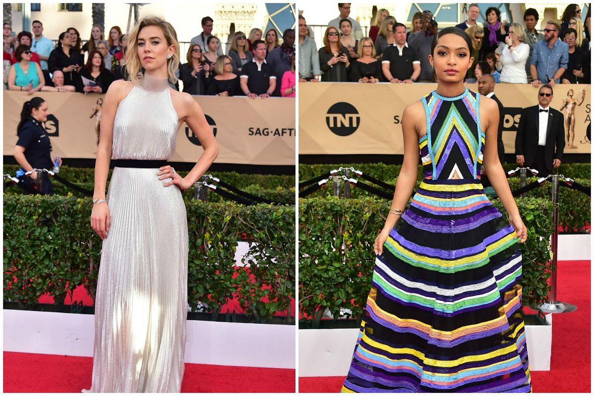 Actresses Vanessa Kirby and Yara Shahidi attend the the 23rd annual Screen Actors Guild Awards ceremony at the Shrine Exposition Center in Los Angeles on Jan 29, 2017.