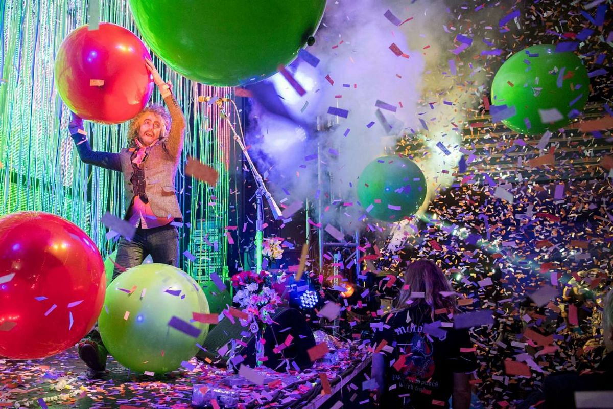 Lead singer, guitarist, and songwriter Wayne Coyne with the band the Flaming Lips performs on stage during a concert at the Volkshaus in Zurich, Switzerland on Jan 31, 2017.
