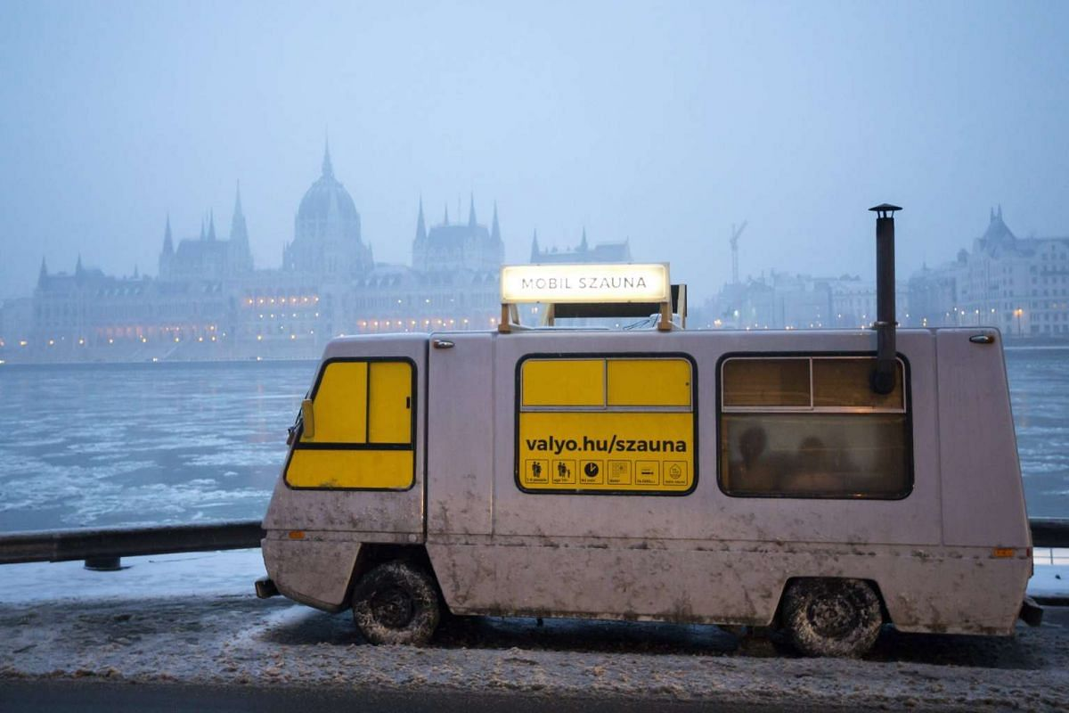 The mobile sauna of the City and River Association Valyo is seen parked at the Sztehlo Gabor quay in Budapest, Hungary, on Feb 1, 2017.